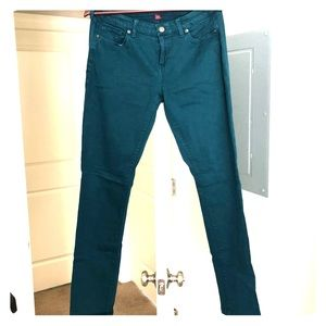 Banana republic teal colored jeans size 10, EUC